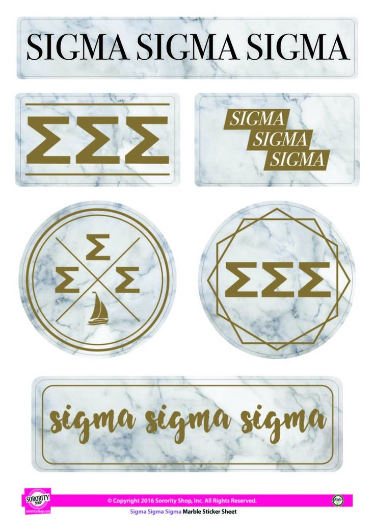 Sigma Sigma Sigma Tri-Sigma Sorority Stickers- Marble - Brothers and Sisters' Greek Store