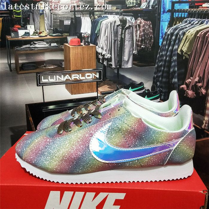 2017 Latest Nike Cortez Womens Casual Sneakers Nubuck Leather Rainbow