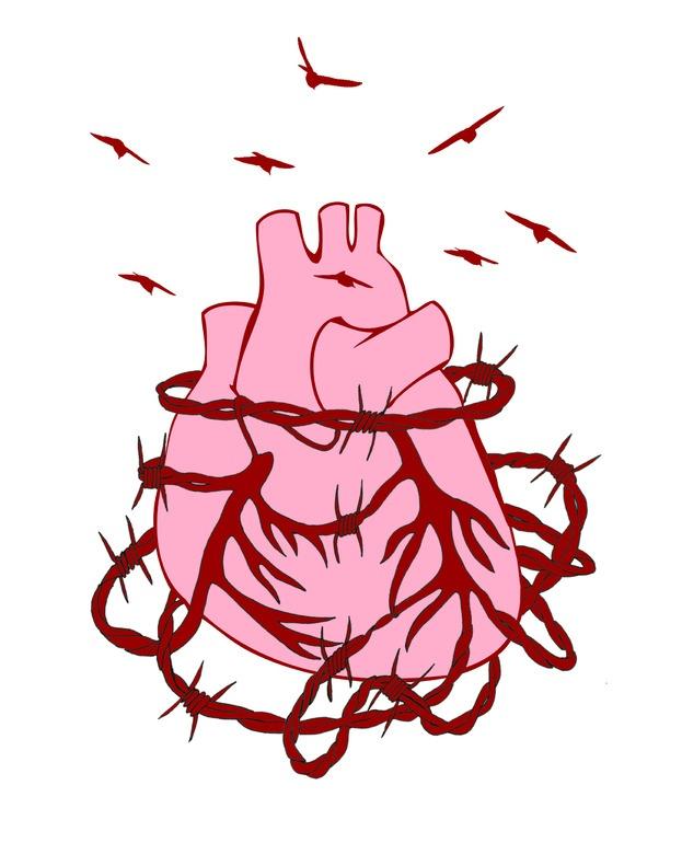 "Saatchi Online Artist: Shabnam Faraee; Pen and Ink, 2011, Drawing ""Love is pain / Chongqing Pink"""