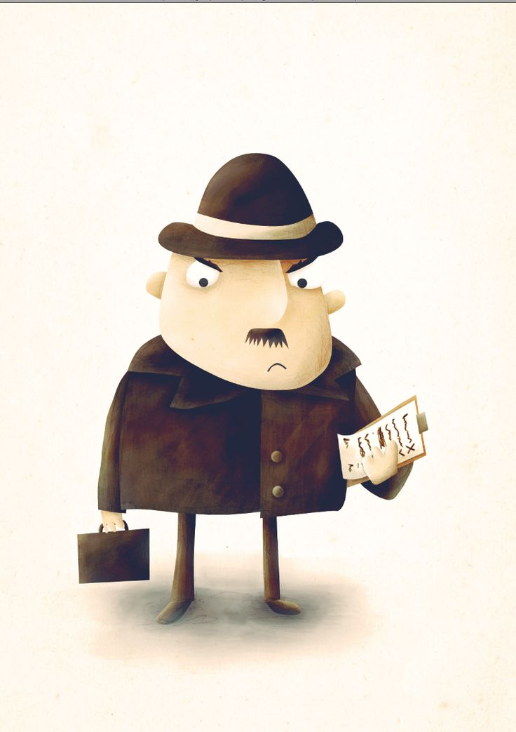 Early concept art characterisation of The Inspector in The Fiitzroy