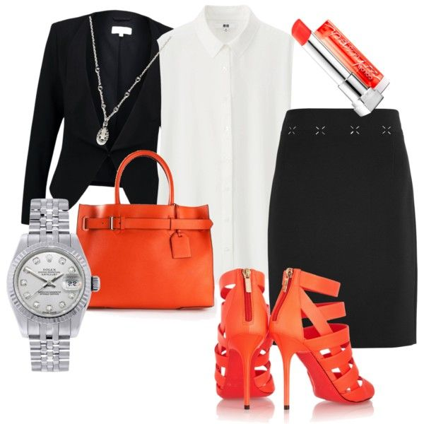 business meeting? by ilmadhinautari on Polyvore featuring polyvore fashion style Uniqlo Patrizia Pepe Alexander Wang Jimmy Choo Reed Krakoff Rolex Favero Maybelline