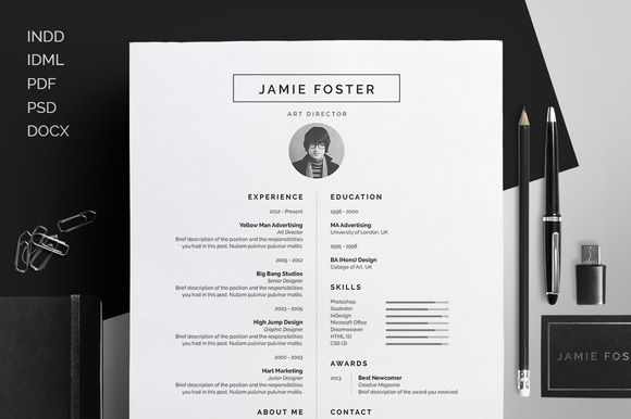 Resume/CV - Jamie by bilmaw creative on Creative Market