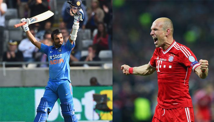 Ajinkya Rahane exchanges Diwali gift with Bayern Munich star Arjen Robben #FCBayern  Ajinkya Rahane exchanges Diwali gift with Bayern Munich star Arjen Robben  New Delhi: Indian cricketer Ajinkya Rahane who is apparently a huge fan of German Bundesliga champions Bayern Munich was gifted an official club jersey with his name on it.  Rahane in return also sent his Indian team jersey to Bayern Munich.  Happy Diwali to everyone. Thank you to @FCBayern for this special Diwali gift! #MiaSanMia…