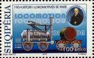 Stamp: Locomotion No. 1 (1825), by George Stephenson (Albania) (190th Anniversary of the First Locomotive) Mi:AL 3494,Sn:AL 2971d,Yt:AL 3163