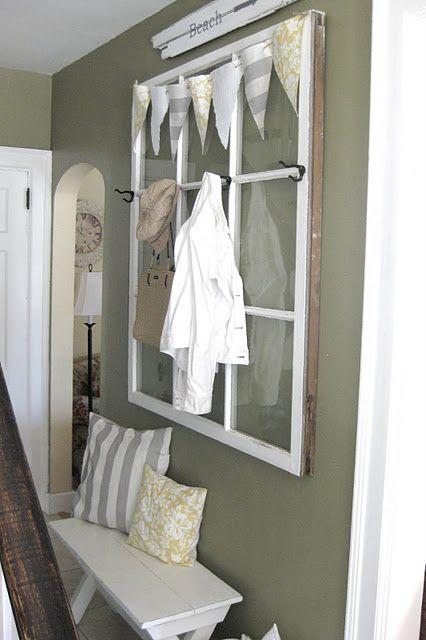 Old salvaged window turns into a coat rackCoats Hooks, Decor Ideas, Coats Racks, Windows Frames, Windows Pan, Old Windows, Coat Racks, Diy, Window Frames