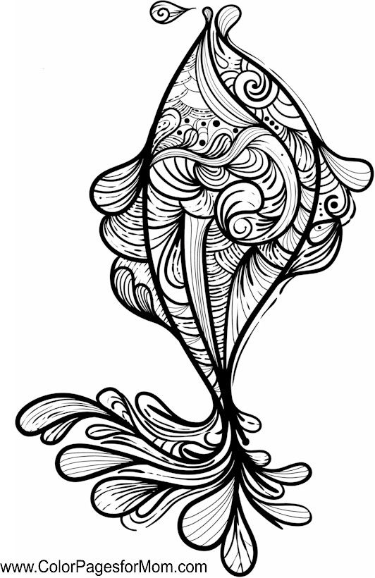 fish zentangle colouring page more - Fish Coloring Pages For Adults