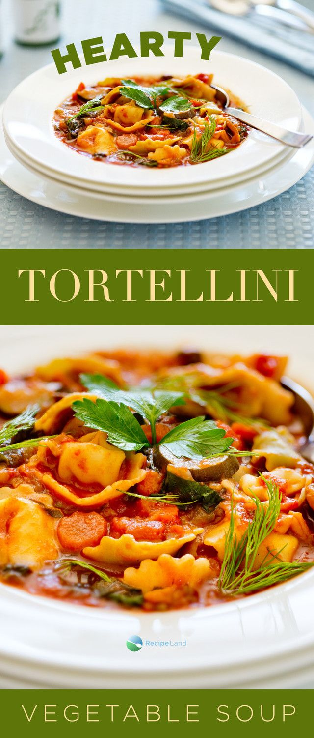 A hearty vegetarian cheese tortellini soup recipe with stovetop and optional super fast microwave directions. Packed with veggies.