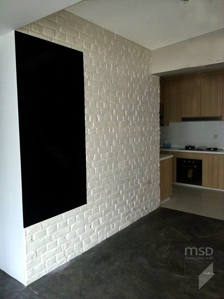 White brick wall in a kitchen