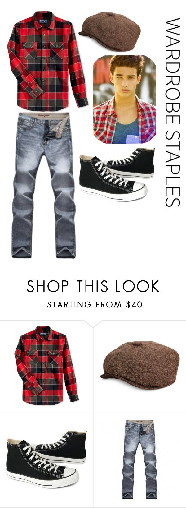 """Red-plaid and newsboy hat"" by nimas on Polyvore featuring American Rag Cie, Sean John, Converse, men's fashion, menswear, plaid, MensFashion, WardrobeStaples, newsboyhat and guymodels"