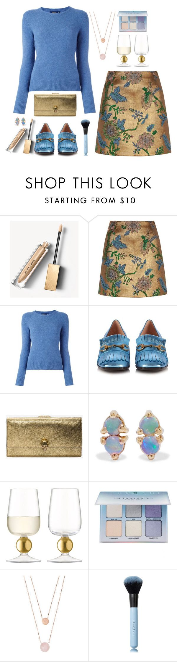 """""""River Island Gold floral embroidered mini skirt"""" by kimzarad1 ❤ liked on Polyvore featuring Burberry, River Island, Polo Ralph Lauren, Gucci, Alexander McQueen, WWAKE, LSA International, Anastasia Beverly Hills and Michael Kors"""