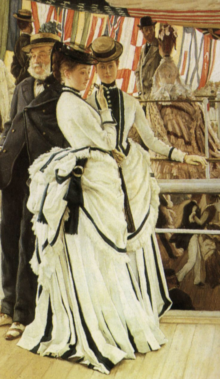 Outdoor dresses of 1874 feature overskirts caught up with buckled ribbons.  Jacket-bodices have