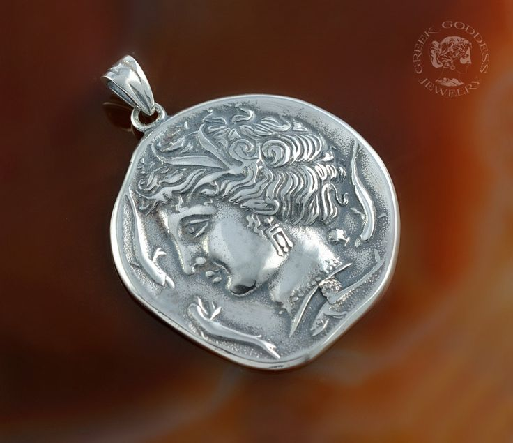Arethusa silver pendant, ancient coin pendant, coin pendant, greek coin pendant, greek pendant, goddess pendant, greek goddess by GreekGoddessJewelry on Etsy