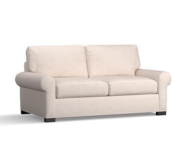 Turner Roll Arm Upholstered Deluxe Sleeper Sofa, Polyester Wrapped Cushions, Sunbrella(R) Performance Herringbone Oatmeal