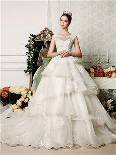 Ericdress Modest Sheer Neck Appliques Ball Gown Wedding Dress