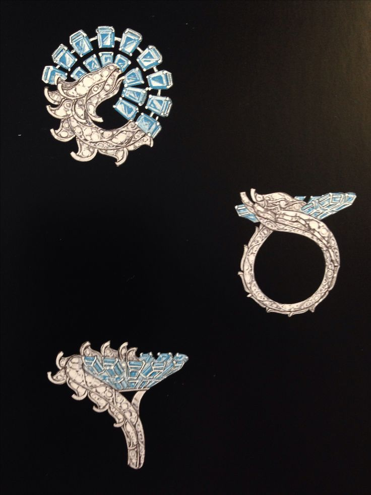 Van cleef & Arpels. Bague dragon ring sketch...♡