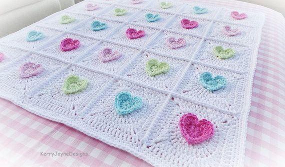 All HEART Crochet Blanket Pattern Baby by KerryJayneDesigns