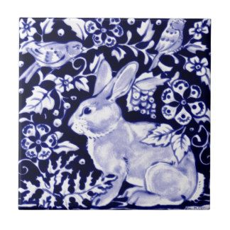 Dedham Blue Rabbit, Classic Blue & White Design Small Square Tile