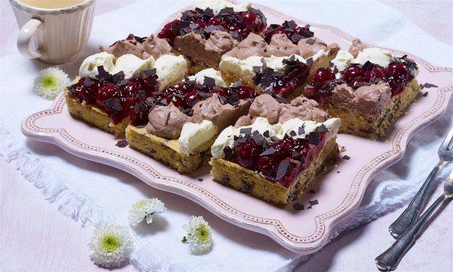 Duo Creme Kirsch Schnitte Rezept Rezepte Dessert Ideen Und Schokokuchen Mit Kirschen