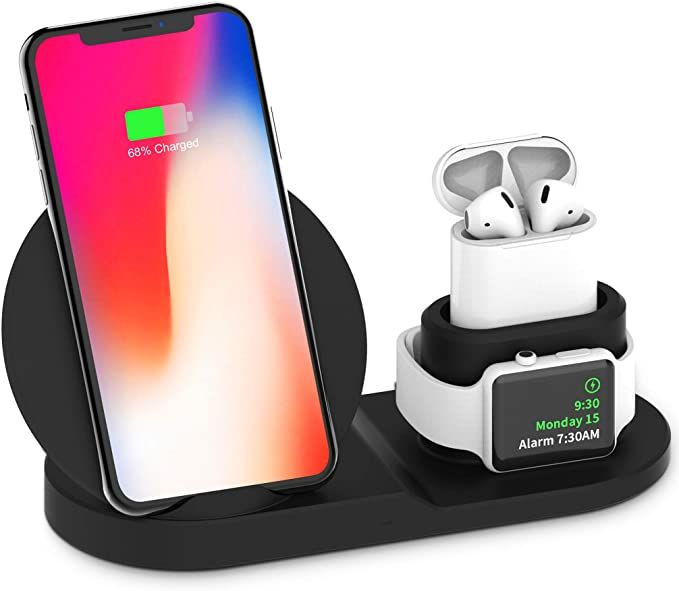 Amazon Com Wireless Charger Stand 3 In 1 Wireless Charging Station Dock With Usb For In 2020 Apple Watch Charger Apple Watch Charging Station Iphone Charging Station