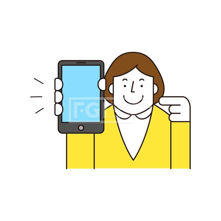 ILL161, 프리진, 일러스트, 생활, 사람, ILL161, 캐릭터아이콘, 캐릭터, 인물, 손짓, 상반신, 손가락, 핸드모션, 동작, 여자, 여성, 청년, 쇼핑, 결제, 구매, 모바일, 핸드폰, 스마트폰,#유토이미지