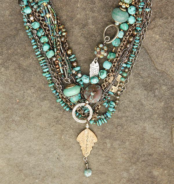 turquoise multi strand - Kim Otterbein Design
