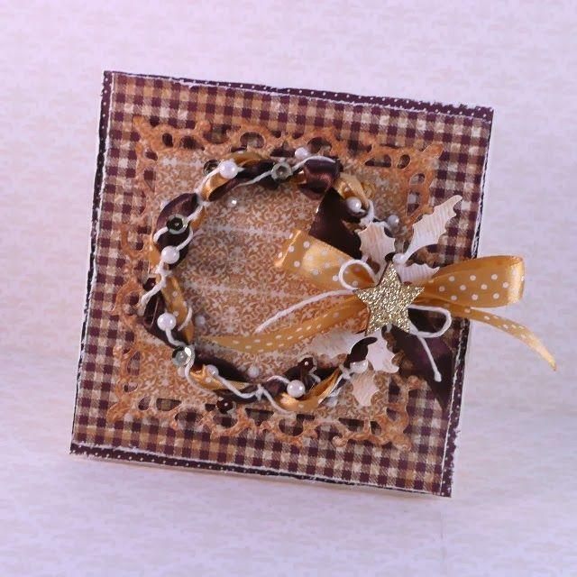 Christmas card with ribbon wreath - tutorial. Iwona Marzejon-Frycz (Ivy) for Rapakivi.