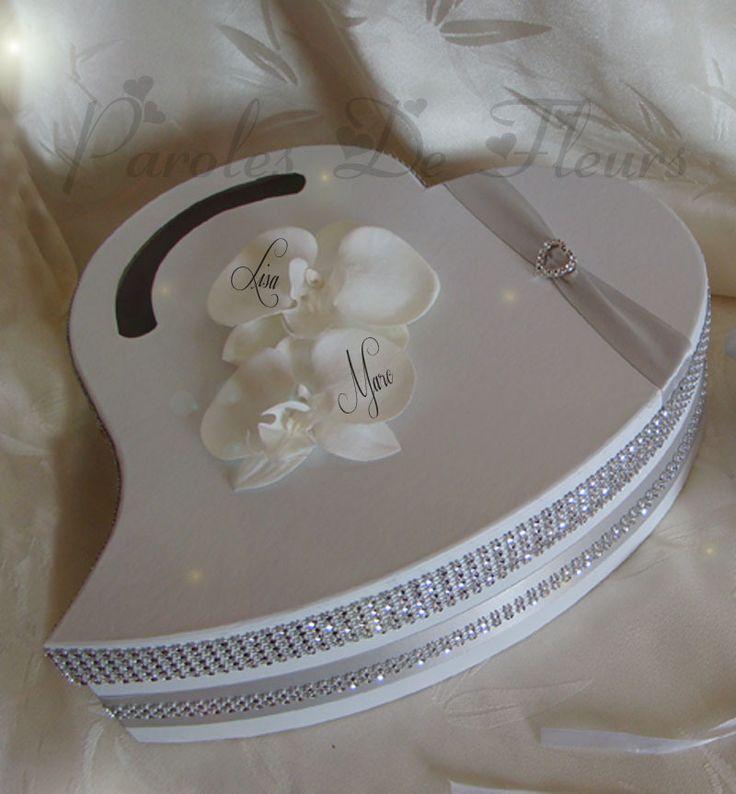 urne mariage coeur strass et orchidées artificielles à personnaliser couleur au choix : Autres accessoires par photo-sur-fleurs