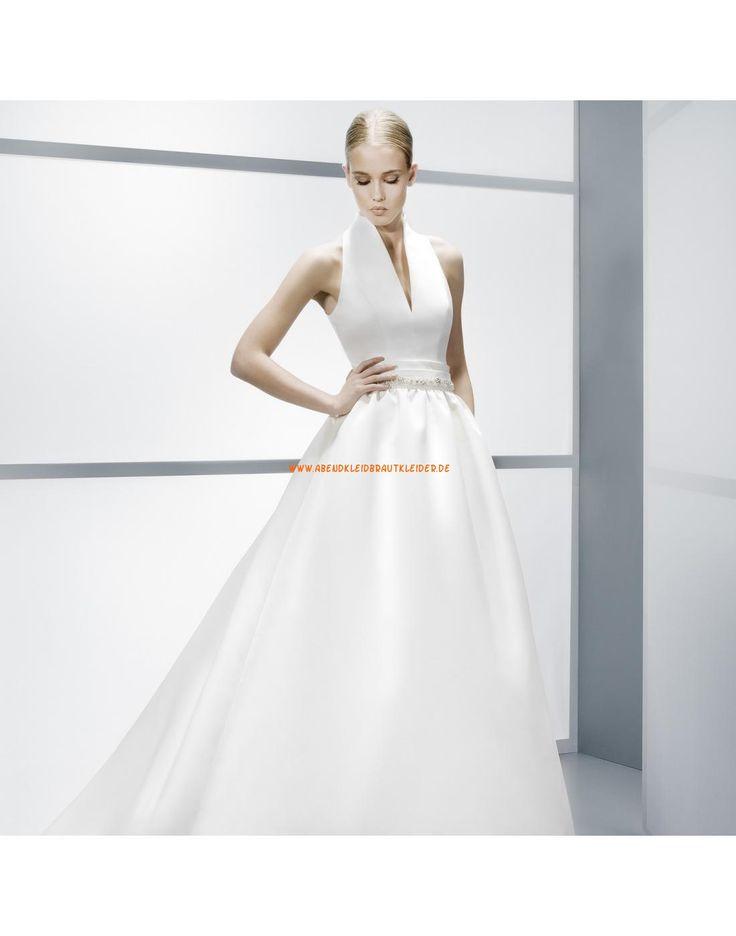 ... Zwei-in-ein V-Ausschnitt Hochzeitskleider aus Satin- Jesús Peiró