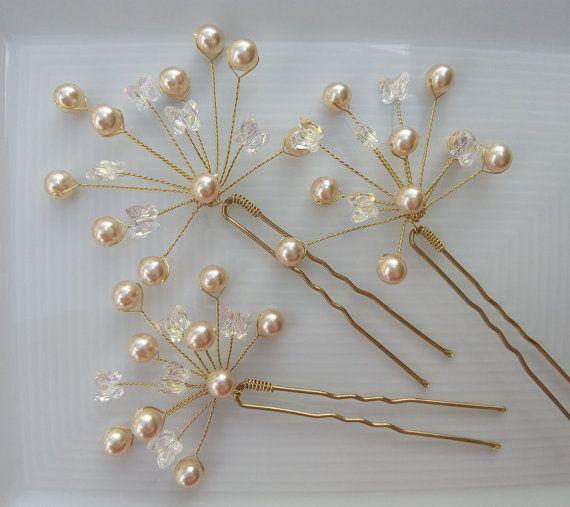 Gold Bridal Headpiece Pearl Hair Pins Bridal by DesignByIrenne
