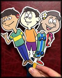 "Stick Puppet Role Plays  Bring the Kids Against Bullying ""Club Crew"" from the web to the ""stage"" with the three downloadable scripts and printable images of each character. Puppetry is a wonderful way to start discussion and each script include a creative classroom activity."