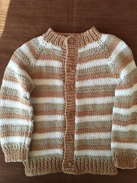 Chaleco tejido a mano en puro Algodón talla 3 años. Colores Naturales