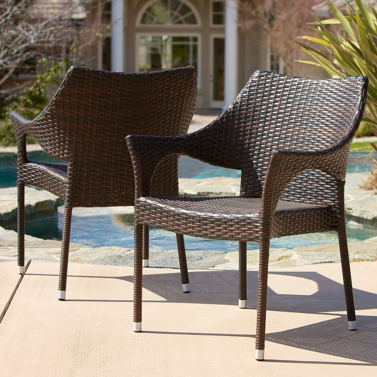 Cliff Outdoor Wicker Chairs (Set of 2) by Christopher Knight Home (Brown), Patio Furniture (Iron)