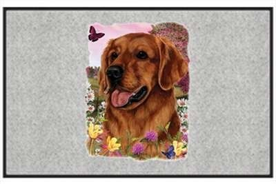 "Golden Retriever - Sporting Dogs - Gray - Door and Welcome Mat by Express Yourself Mats. $24.88. Great Gift Idea!. Made in USA. Door Mat Size 27""x18"". Personalization Available (choose above) - EMAIL TEXT TO SELLER AFTER CHECKOUT. Non-Skid Backing. Enjoy the Golden Retriever design heat pressed on this light-weight, low pile, woven polyester door mat. This decorative welcome mat measures 27 x 18 inches, is 1/8 inch thick and features a non-skid latex coating on the back with..."