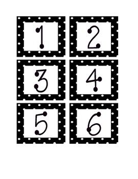 Black and White Polka Dot Calendar Numbers!