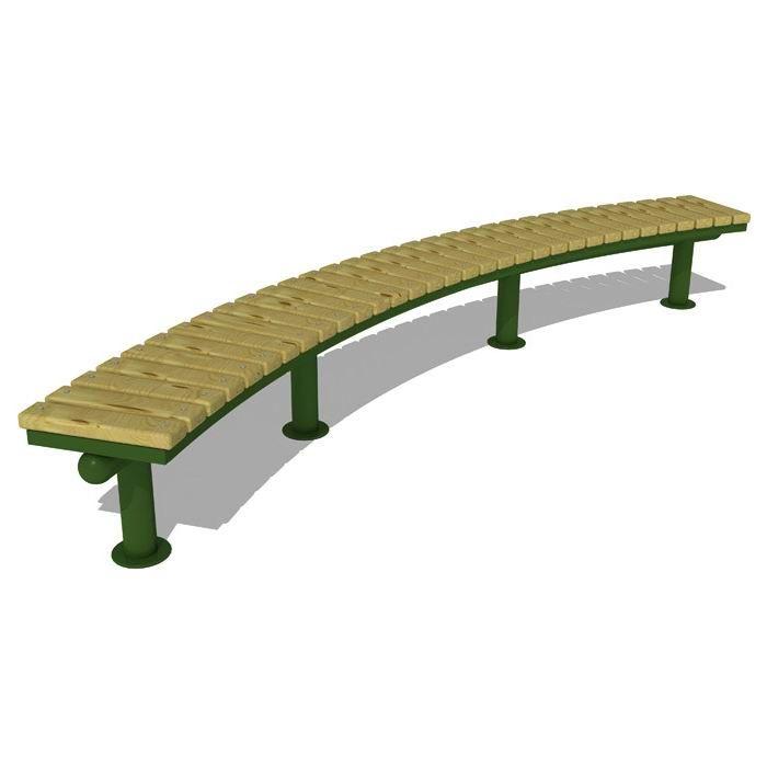 Mobilier urban banca modulara parc cadru metal elemente lemn pin AP5023 - EVOHoreca