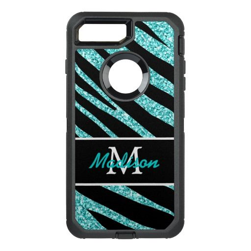 BOLD BLACK ZEBRA STRIPES NAME TEAL GLITTER OtterBox DEFENDER iPhone 7 PLUS CASE