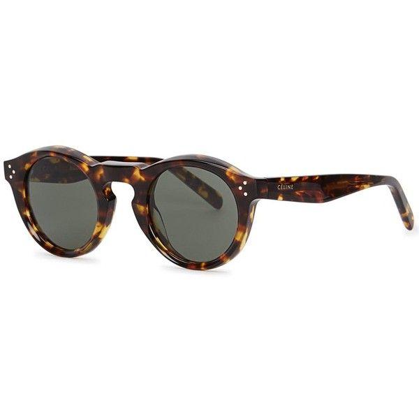 c3779349f3 Céline Bevel Tortoiseshell Round-frame Sunglasses (2 640 SEK) ❤ liked on  Polyvore featuring accessories