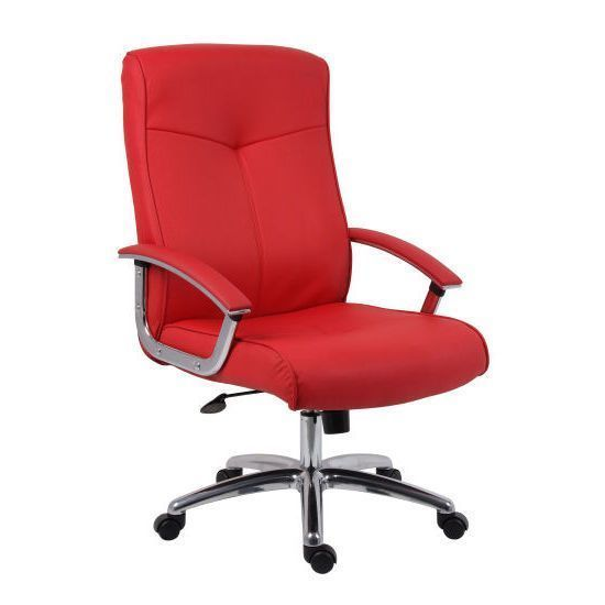 Executive Leather Chair Red Padded Armrest Adjule Swivel Office Furniture