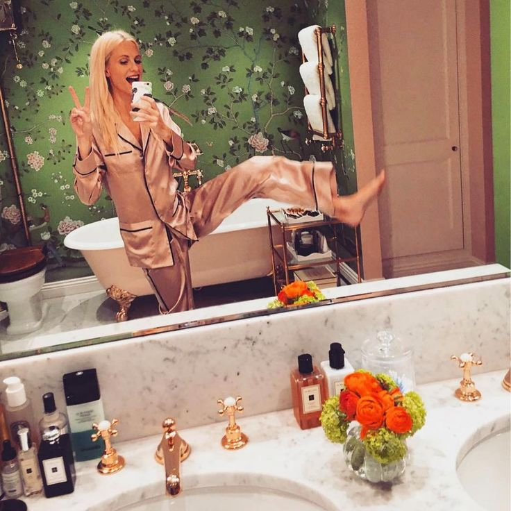 Poppy Delevingne wears the Coco Oyster pajamas by Olivia Von Halle