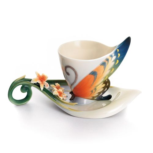 Tiger Swallowtail Porcelain Cup and Saucer Set from the Franz Collection