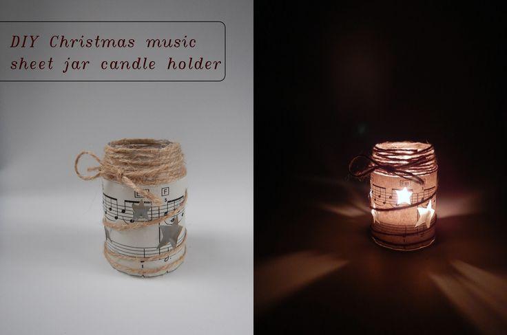 DIY christmas mason jar candle holder / Vánoční svícen s notovým papírem a jutou. #jute #christmas #candle #holder #musicsheet #stars #mason #jar #svícen