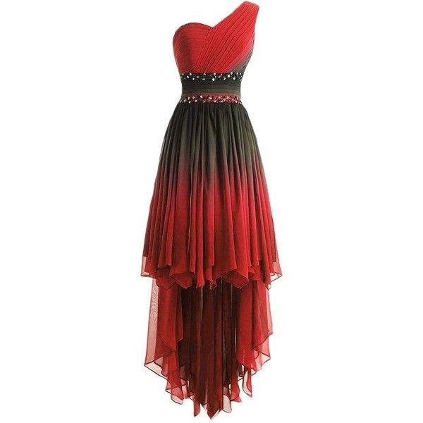 Lemai One Shoulder High Low Ruffles Beaded Prom Homecoming Cocktail... ($97) ❤ liked on Polyvore featuring dresses, beaded cocktail dresses, red homecoming dresses, high low prom dresses, one shoulder dresses and red dress