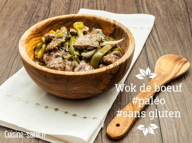 Recette paléo sans gluten: wok de bœuf basilic et poivrons verts