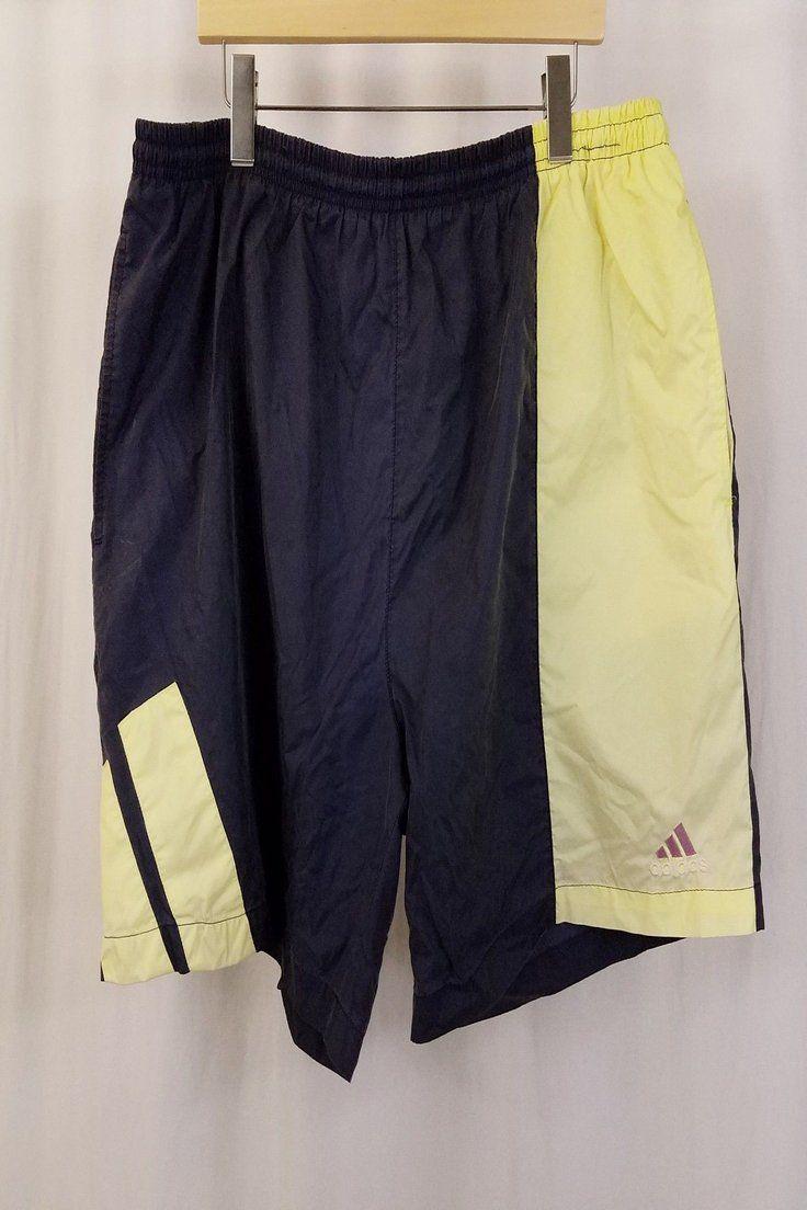 24d04419ba 12.49 | ADIDAS Swim Trunks Vintage Navy Blue Yellow Logo Shorts Mens Size  XL ❤