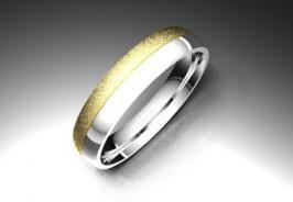 Alianza de oro blanco y amarillo de 18K modelo Dos colores #bodas #alinzas #novia | cnavarro.com