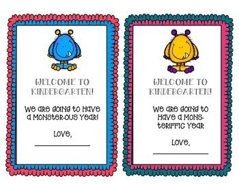 Available in a variety of grade level titles.  This is a cute monster themed Welcome letter to give students on the first day of school.  You can attach a treat or pencil to this note.  Includes 2 pages with 4 different welcome sayings and color combos.