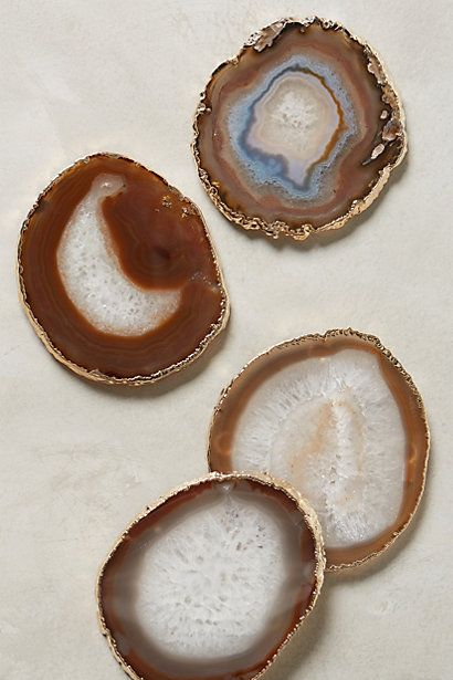 Gilded-Edge Agate Coasters #anthropologie  The pink and blue coasters are cuter!  $98