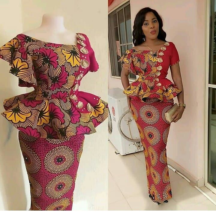 Peplum Ankara Skirt And Blouse Check Out 25 Stylish Peplum Ankara Skirt African Design Dresses African Print Fashion Dresses Latest African Fashion Dresses