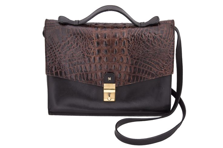 1970s leather and crocodile bag