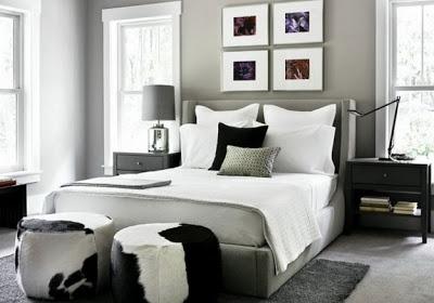 Dormitorio matrimonial paredes grises